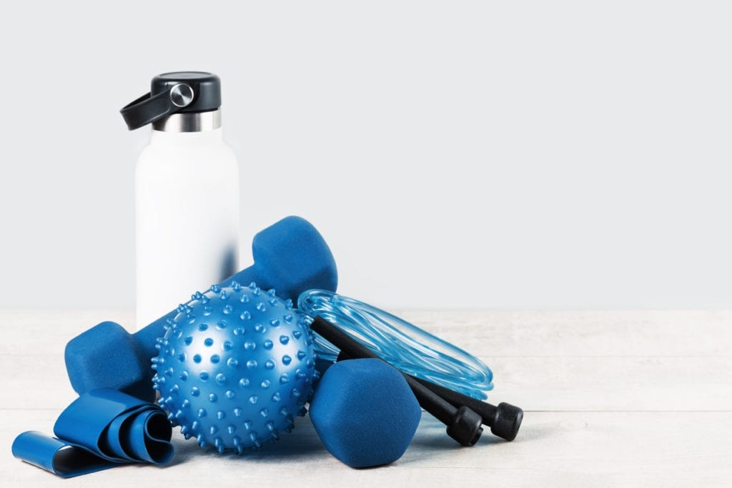 Healthy lifestyle blue sports accessories